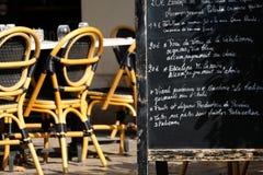 Panneau de menu au restaurant français Photo stock