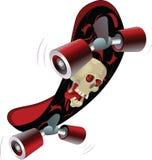 Panneau de patin avec un crâne. Dessin animé Photographie stock
