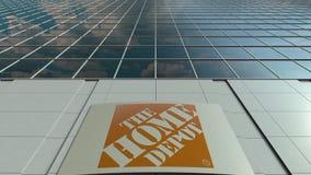 Panneau de Signage avec le logo de Home Depot Laps de temps moderne de façade d'immeuble de bureaux Rendu 3D éditorial illustration libre de droits