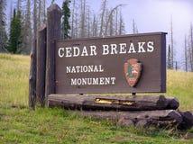 Panneau de signe de Cedar Breaks National Monument Image libre de droits
