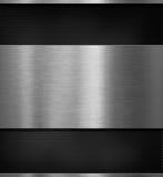 Panneau en aluminium en métal au-dessus d'illustration noire du fond 3d Photos libres de droits