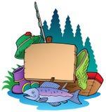 Panneau en bois avec le matériel de pêche Images stock