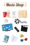 Panneau en bois de boutique de film avec les verres à distance du masque 3d d'émotion de billet de disque de film de maïs de brui Image libre de droits