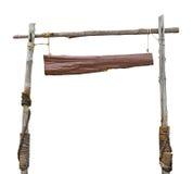 Panneau en bois de signe accrochant avec la corde Photo stock