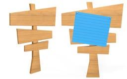Panneau en bois de signe d'angle latéral et avant avec le papier bleu là-dessus photos libres de droits