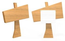 Panneau en bois de signe d'angle latéral et avant avec le papier là-dessus images stock