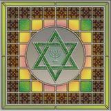 Panneau en verre souillé avec l'étoile de David et le menorah Photographie stock libre de droits