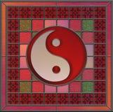 Panneau en verre souillé avec le centre de yang de yin Image stock