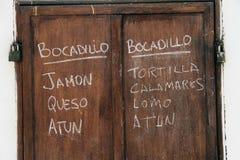 Panneau espagnol de menu Photographie stock