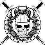 Panneau et crâne illustration stock