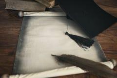 Panneau et diplôme de mortier images libres de droits