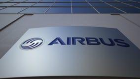 Panneau extérieur de signage avec le logo d'Airbus Immeuble de bureaux moderne Rendu 3D éditorial Photo stock