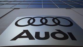 Panneau extérieur de signage avec le logo d'Audi Immeuble de bureaux moderne Rendu 3D éditorial Image stock