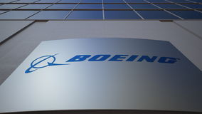 Panneau extérieur de signage avec le logo de Boeing Company Immeuble de bureaux moderne Rendu 3D éditorial Photo libre de droits