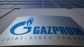 Panneau extérieur de signage avec le logo de Gazprom Immeuble de bureaux moderne Rendu 3D éditorial Image stock