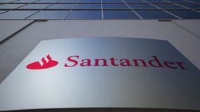 Panneau extérieur de signage avec le logo de Santander Serfin Immeuble de bureaux moderne Rendu 3D éditorial Photographie stock libre de droits