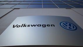 Panneau extérieur de signage avec le logo de Volkswagen Immeuble de bureaux moderne Rendu 3D éditorial Photographie stock libre de droits