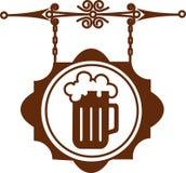 Panneau indicateur antique de rue de maison de bière ou de bar-1 Image libre de droits