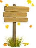 panneau indicateur d'automne en bois Images libres de droits