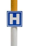Panneau indicateur d'imitation d'hôpital sur la cigarette, d'isolement Photographie stock