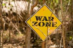 Panneau indicateur de zone de guerre Photo stock
