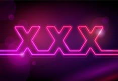 Panneau indicateur du néon XXX Photos libres de droits
