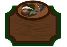 Panneau indicateur en bois avec le canard Photo stock
