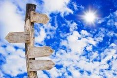 Panneau indicateur en bois sur le ciel bleu Photo libre de droits