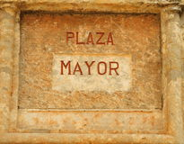 Panneau indicateur espagnol de plaza Images libres de droits