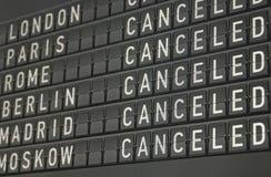 Panneau informationnel électronique d'aéroport Photo stock