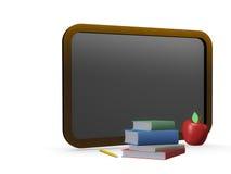 Panneau noir, piles de livres, crayon et pomme Photo stock