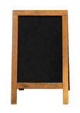 Panneau publicitaire porté par un homme-sandwich en bois de tableau noir Photo stock