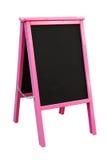 Panneau publicitaire porté par un homme-sandwich rose de tableau Image stock