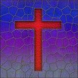 Panneau réaliste d'hublot de croix en verre souillé Image stock