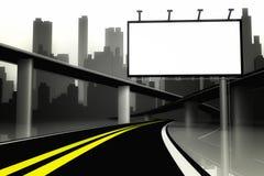 panneau-réclame 3d et route avec le fond de ville Photographie stock libre de droits