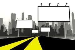 panneau-réclame 3d et route avec le fond de ville Images libres de droits