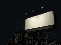 Panneau-réclame avec l'horizon urbain Image libre de droits