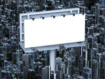 Panneau-réclame blanc avec des constructions Photo libre de droits