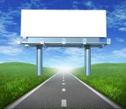 Panneau-réclame blanc de route Photo stock