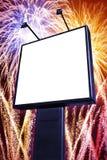 Panneau-réclame de feux d'artifice Image libre de droits