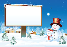Panneau-réclame de Noël avec le bonhomme de neige Image stock