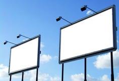 Panneau-réclame deux en blanc images libres de droits