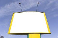 Panneau-réclame jaune blanc Images stock