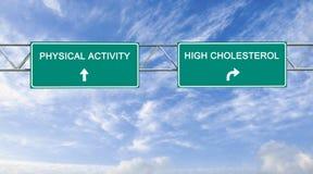 Panneau routier à l'activité physique et riche en cholestérol photos libres de droits