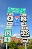 Panneau routier à Montpellier, Vermont, Etats-Unis Photographie stock libre de droits