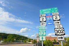 Panneau routier à Montpellier, Vermont, Etats-Unis Image libre de droits
