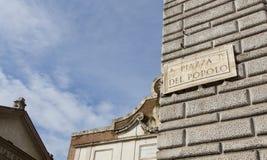 Panneau routier à Rome Photo libre de droits
