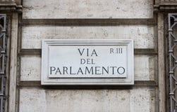 Panneau routier à Rome Photo stock