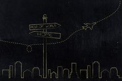 Panneau routier avec des directions d'alternative de maison et de reste du monde Photo libre de droits