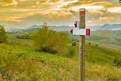 panneau routier avec deux flèches sur Rolling Hills vertes Photo libre de droits
